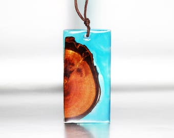 Resin Wood Necklace Gift Blue Drop Pendant, Wood Inspire Jewelry Gift Natural Necklace, Stylish Jewelry Art Gift For Her, Resin Wood Pendant