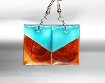 Art Wood Jewelry Resin Modernist Earrings, Magic Resin Earrings Original Forest Jewelry, Nature Drop Earrings Resin Jewelry Holiday Gift
