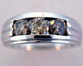 Cappuccino Color Diamond 14k White Gold RIng.