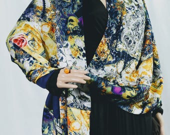 colorful and elegant  silk luxury wrap with hand embroidery