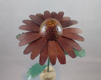 Purple Cone Flower,  a wood flower, hand crafted from Purple Heart, from southern Brazil.