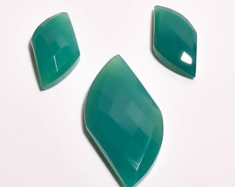 Top Quality Green Onyx 3 Pieces Set  Fancy Cut 56 Carat Code 395