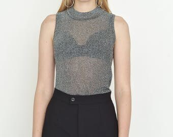 VINTAGE Silver Grey See Through Sleeveless Shiny Retro Top