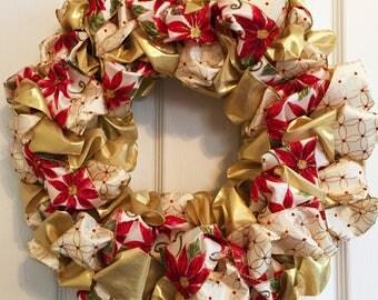Poinsettia and Gold Ribbon Wreath