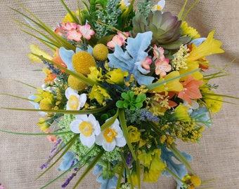 Wildflower Silk  Bouquet - Wildflower Wedding Bouquet - Floral Design - Yellow Bouquet -Yellow Wedding  Bouquet - Silk Bouquet