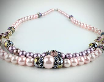 Pink beaded necklace, pink necklace, pink pearl necklace, pink glass bead necklace, gift for her, gift for grandmother
