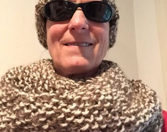 Hand knit Infinity cowl and  hat  set