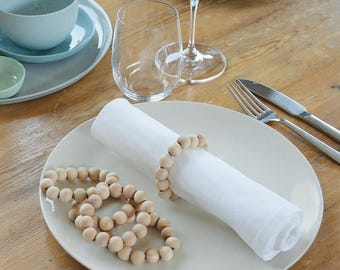 Wood Napkin Rings//Beaded napkin rings//wedding napkin rings//scandinavian table setting