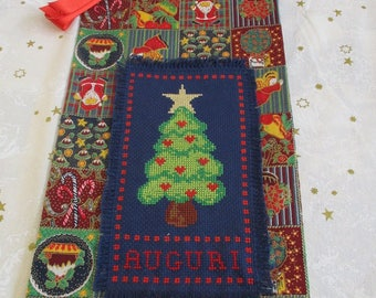 """Christmas bag with cross stitch to pack blue gifts """"Christmas tree + Greetings"""""""