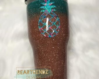 Glitter Dipped Stainless Steel Tumbler Cup with Pinapple Decal