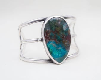 Old Pawn Sterling Silver and Chrysocolla Bracelet