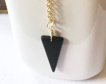 48mm Triangle shaped recycled black sea glass drop, necklace drop, sterling silver drop, dangle, black dangle, black drop, sea glass