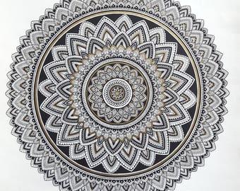 "Black, White and Gold 18"" x 18"" Mandala"