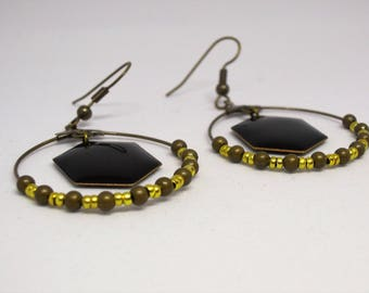 Creole Hexagon black/bronze pearls and gold/geometric/pierced earrings/gift