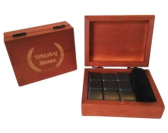 Whiskey Stones Gift Set - Premium Fast Chilling Whiskey Rocks - 9 Piece Whiskey Stone Gift Set Includes Wooden Box and Velvet Freezer Bag