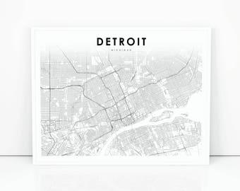 Detroit Map Print, Michigan MI USA Map Art Poster, City Street Road Map Print, Nursery Room Wall Office Decor, Printable Map