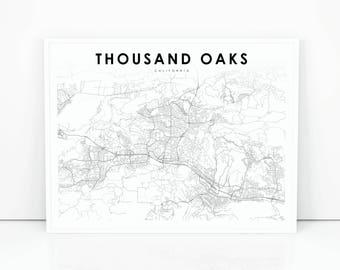 Thousand Oaks Map Etsy - Thousand oaks map