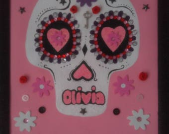Sugar skull on canvas