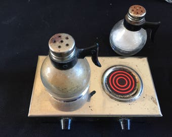 Vintage coffee pot salt and pepper shakers with burner!