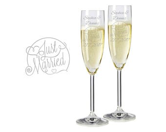 "2 Leonardo champagne glasses with personalized engraving ""Just Married"" bride/groom with name and date engraved wedding gift"