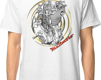 Inished Productions Velocette inspired classic retro bespoke urban Motorcycle art T-Shirt Melimoto