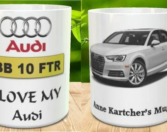 Personalised Audi Mugs A Photograph of Your Car Your Name and Registration Number Included 02