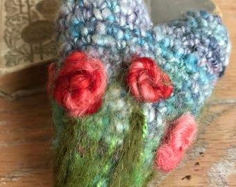 Crochet Art Heart, Hand Spun Yarn, Needle Felting and Embroidery