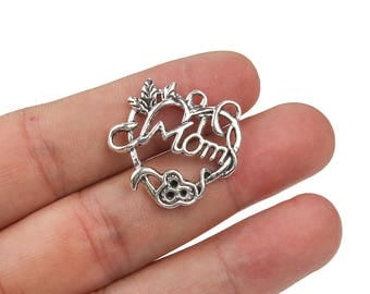 Bulk 10 pcs mom charms, Engraved letters charms, Love charms, Alloy metal charms, Antique silver charms, Cute charms, 27 mm x 25 mm, A59