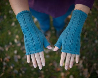 Hand knit teal blue fingerless women's gloves