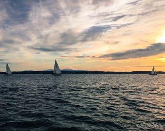 Sailboats at Sunset Photograph