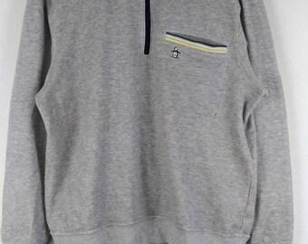 Rare!! GRANDSLAM MunsingWear Sweatshirt Spell Out Embroided Small Logo Pullover Half Zipper Neck Long Sleeve Medium Size