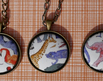 Zoo Animals Pendant Necklace