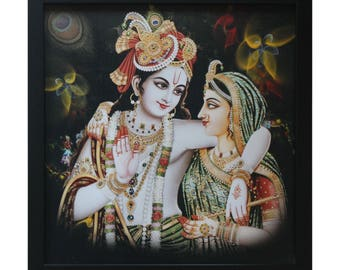 Radha Krishna Picture & Wooden Photo Frame