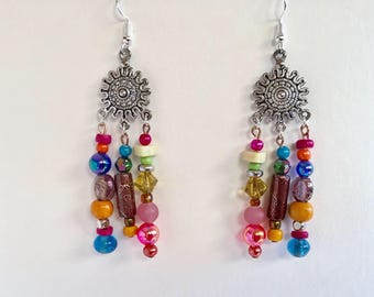 Colourful statement earrings | Statement Earrings | Gypsy Earrings | Multicoloured | hippie earrings | Ethical | Gift Ideas | Fun earrings