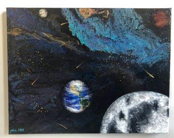 Acrylic painting on stretched canvas 14x18 inch pouring art space galaxy  planets