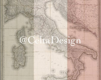 Old Italy Map - Italian Flag Overlay - Digital Download