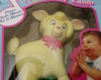 Vintage 1984 by Meritus Moving Crib Toy - Lullaby Lamb - plays Soft Music as it Moves No. 4001 Non Toxic