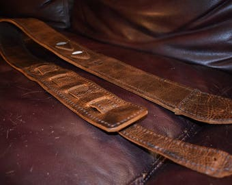 Hand stitched Leather Guitar Strap