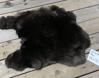 One Black Rex Rabbit Hide- Natural Rabbit Fur-  No. 171223-AA