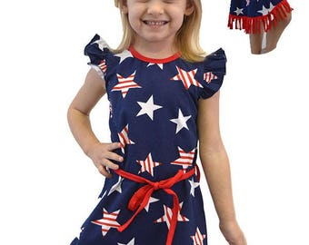 US Kids Baby Girl Outfit Clothes Dress With Star Print