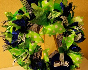 Seattle Seahawks Deco Mesh and Ribbon Wreath