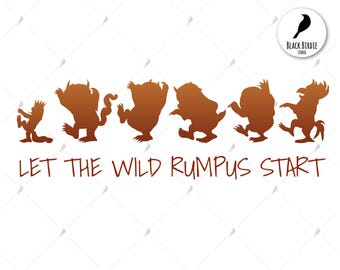Where the wild things are svg, Sendak svg, where the svg, wild things clipart, cricut silhouette – eps, dxf, png, pdf, svg – digital files
