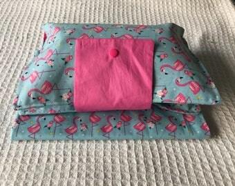 Flamingos Nappy Wallet, Diaper wallet, change mat
