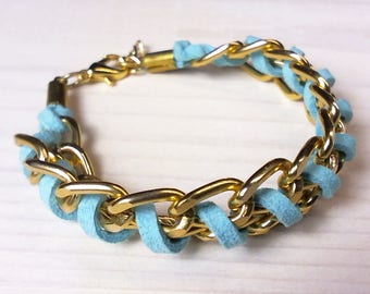 Gold Color Aluminum Chain Bracelet with Turquoise Faux Suede Cord. Spring Summer Jewelry