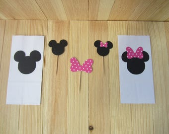 Mickey Mouse and Minnie Mouse Party Favor Bags and Cupcake Picks
