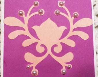 All Occasion Purple and Pink with white Pearls Greeting Card, Handmade  Card, Made in the USA, #294