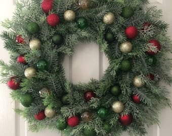 """Evergreen Lush 24"""" diameter Christmas Wreath with Shatterproof Ornaments in red, green, silver"""