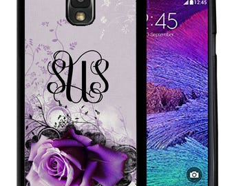 Monogrammed Rubber Case For Samsung Note 3, Note 4, Note 5, or Note 8- Light Purle Rose
