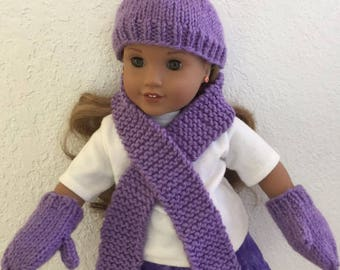 Winter Set for your American Girl Doll: Hat, Scarf, Mittens