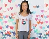 Kiss Me Shirt - Ladies Love Shirt - Yoga T Shirt - Ladies Boho Shirt - Lips Shirt - Valentines Top - Hand Painted - Bohemian Inspired Tee